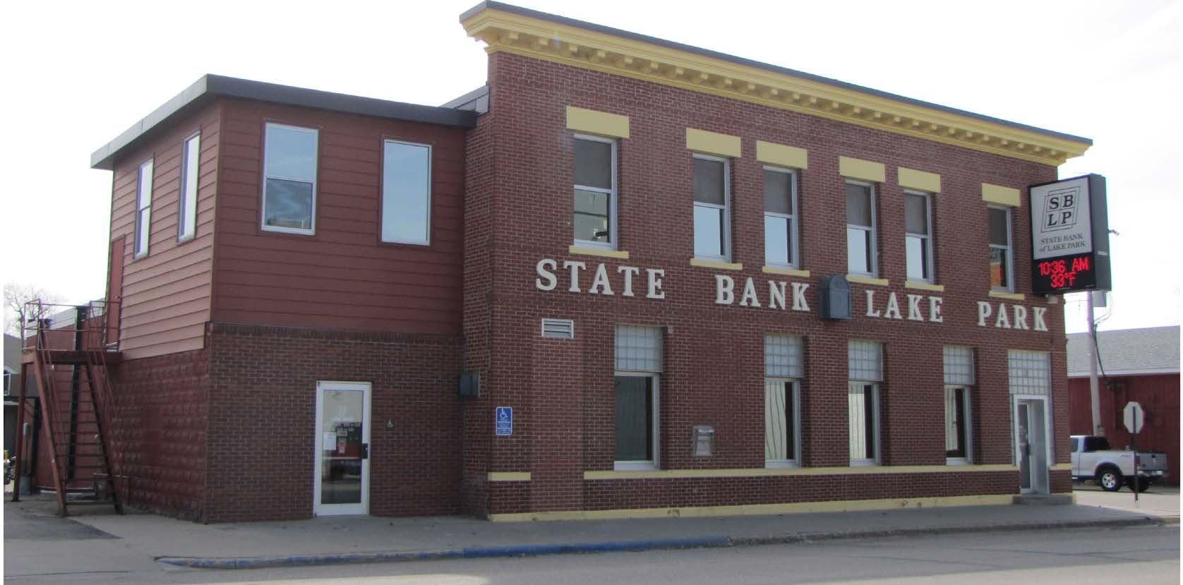 Front of State Bank of Lake Park Building